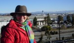 Melanie w/ snow at LAX overlook, Imperial Hill