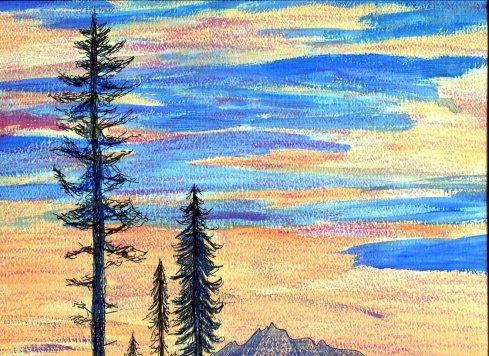 CA sunset, Dr. Melanie Renfrew painting