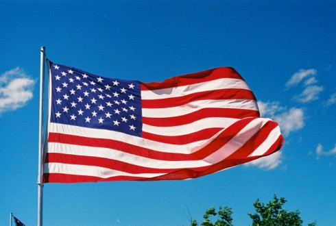 American flag in West wind