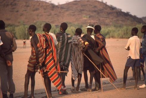 Turkana herders watching soccer game, Dr. Renfrew photo