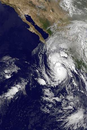 Hurricane over Baja, NOAA image