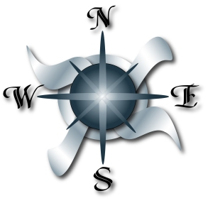 Compass - West is on left, East is on right, and it spells WE across if you read from left ot right.  In China, Israel, Arabic world, it spells EW.