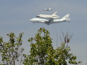 Space Shuttle Endeavor from Crenshaw Green Line station - 2,  MP Renfrew photo 9-21-12