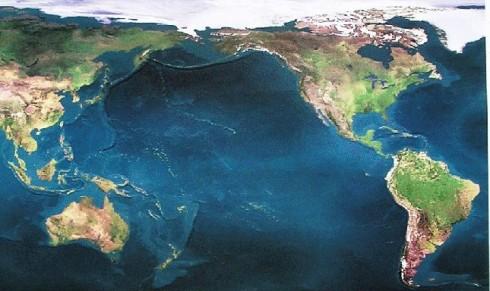Satellite Earth poster, biased toward brown, avoiding cloud images
