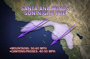 Jan 2013 Santa Ana Accuweather graphic that does not show L.A. in winds' path