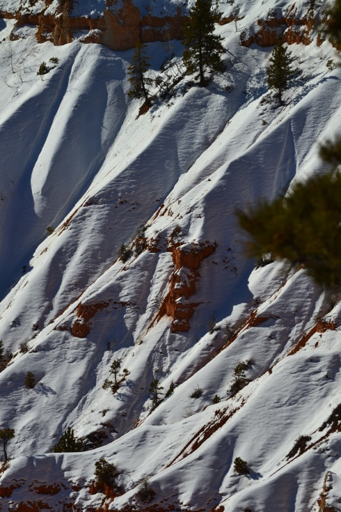 Snow, shadows accentuate ridgelines, steep relief, Bryce 2-1-13 Renfrew