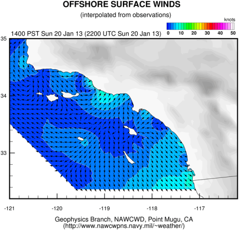 Sunday 1-20-13 2 p.m.  Offshore winds blowing West at the shore (called 'offshore flow') weatherflow.com map