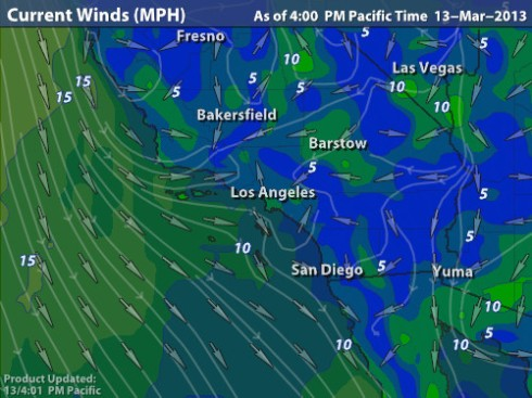 Intellicast wind map L.A. 4 p.m. PDT 3-13-13