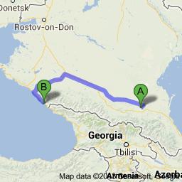 Sochi to Chechnya risk region North Caucasus Russia map Black