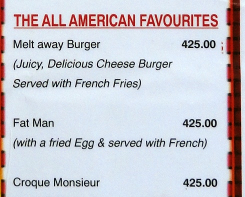 All American Favourite - 'Fat Man' menu