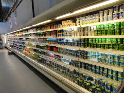 Dairy in Poland 1 - This wall all yogurt, July 2013, MP Renfrew