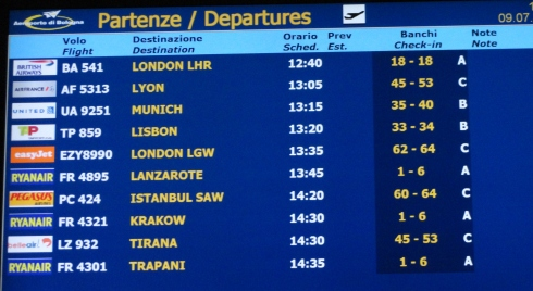 Departure flight list, Bologna, Italy airport