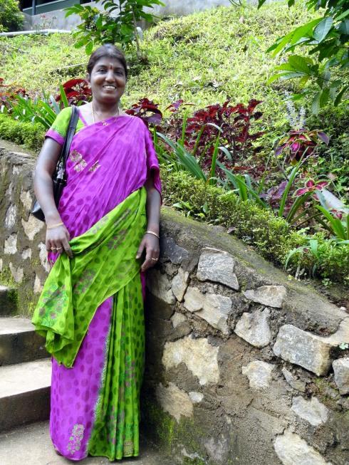 Purple-sari lady at falls, Sri Lanka