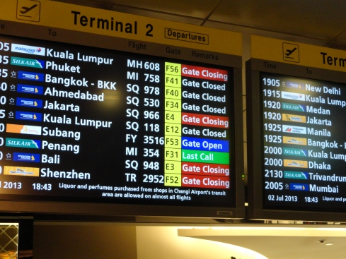 Singapore airport flight list