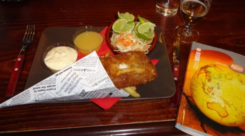 Trondheim fish & chips, sharing the North Sea & all, July 2013, MP Renfrew