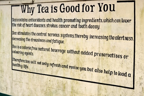 Why Tea is Good for You sign, Sri Lanka