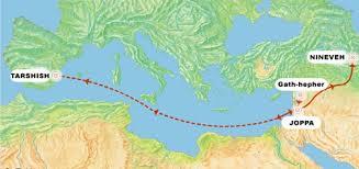 map of Joppa, Tarshish, Nineveh