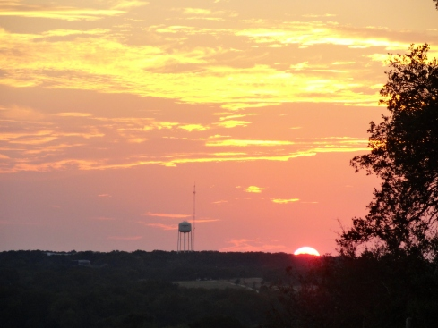 Orange sunset, E of Georgetown, TX 10-14