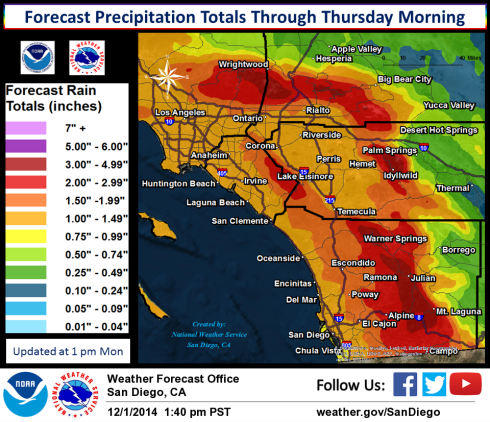 NWS San Diego predicted rain for Dec. 2 + 2014