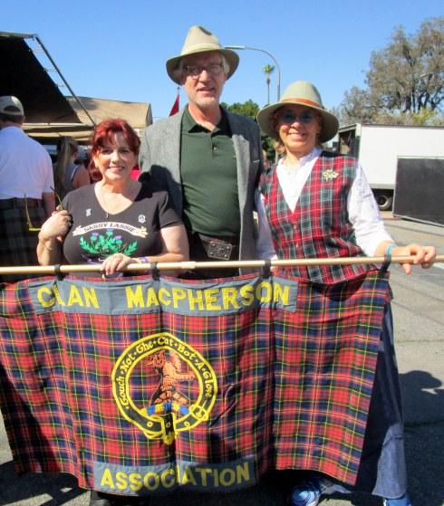 Annie, Ron, Melanie Clan Macpherson 2-14-15 Long Beach Scottish parade