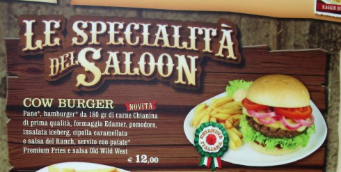 Cow burger, Genoa, Italy