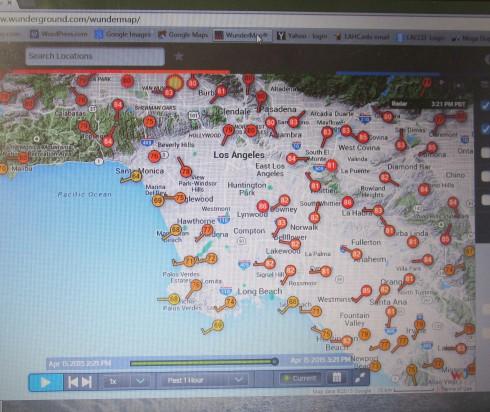 4-15-15 'Santa Ana wind event' winds L.A. 3 p.m.