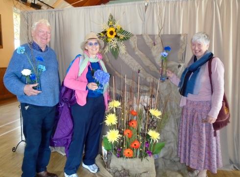Donald & Morag Barr, Melanie Renfrew at Newtonmore Flower Show, 7-15-15, Scotland