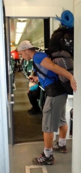 Dutch packpacker on way to Glenfinnan, 7-11-15 MPR