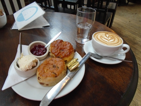 scones in Cardiff with a 'flat white'