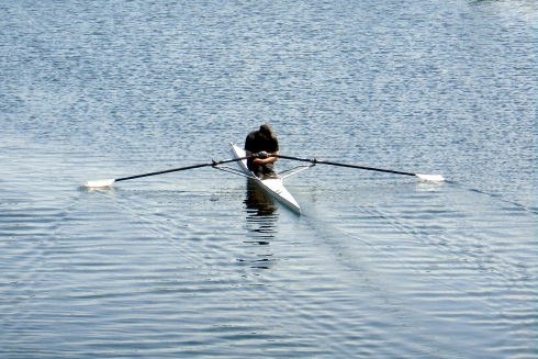 Solo paddler on Liverpool canal, MP Renfrew