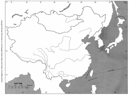 East Asia blank outline map China WIley Ch. 9