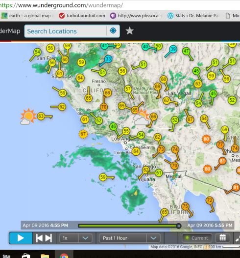 Wundermap radar rain 4-9-16