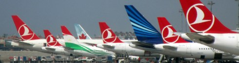 Turkish Airways tails, Istanbul Airport, June 28, 2016