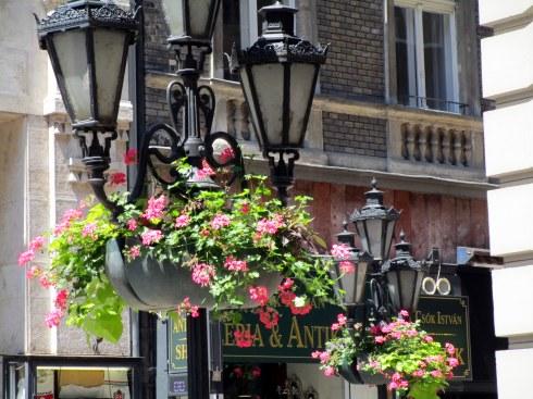 Budapest lamppost flower baskets, MP Renfrew 6-16