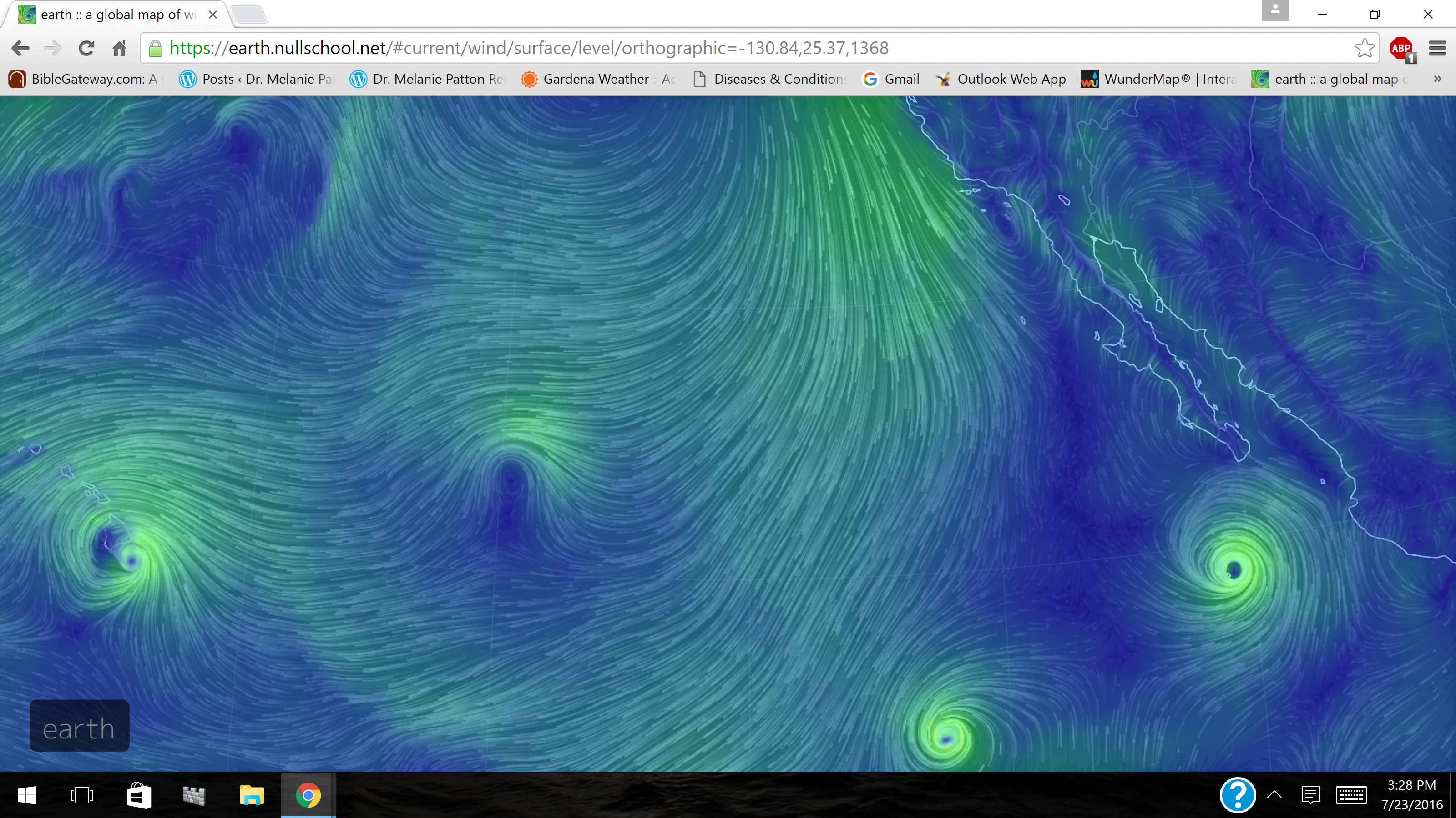 Wind Map E Pacific Tc Darby Hawaii 2 Others 7 23 16 Dr Melanie