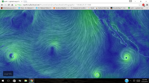 Wind map E. Pacific, TC Darby Hawaii, 2 others 7-23-16