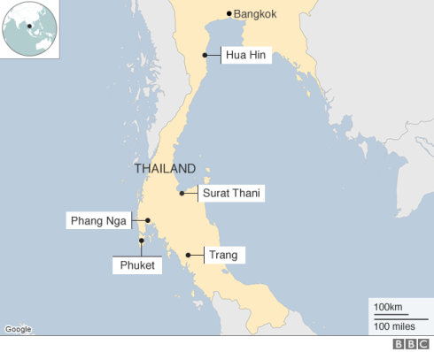 Thailand blasts map, 8-12-16