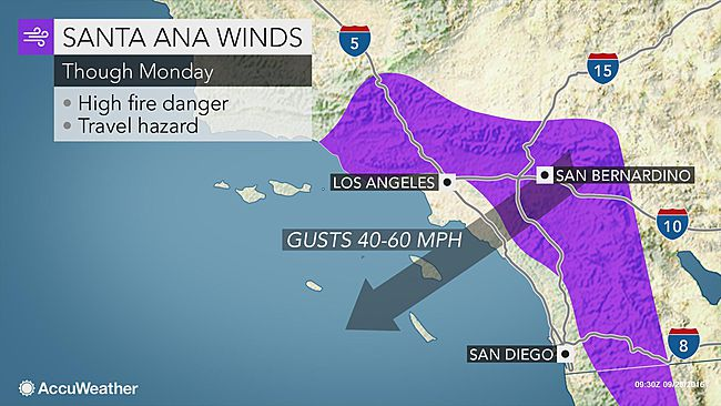 Accuweather Santa Ana winds map is right today Dr Melanie